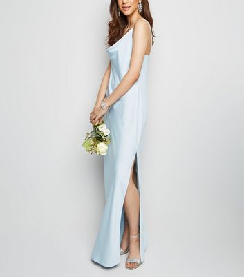 Pale Blue Cowl Neck Maxi Dress