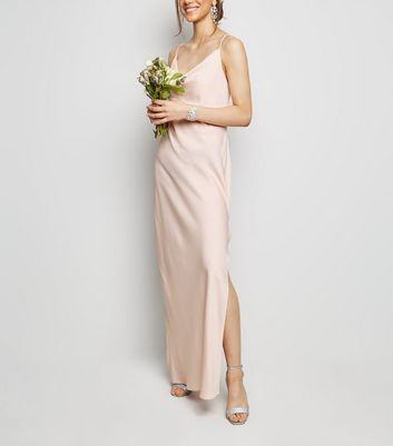 Pale Pink Cowl Neck Maxi Dress