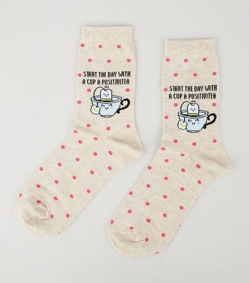 Cream Cup A Positivitea Slogan Socks