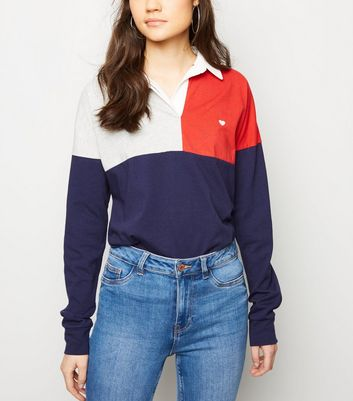 Navy Colour Block Longline Rugby Shirt