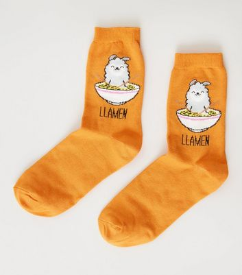 Orange Llamen Slogan Llama Socks