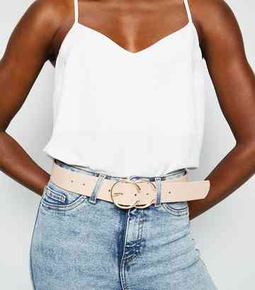 Pale Pink Double Horseshoe Buckle Belt