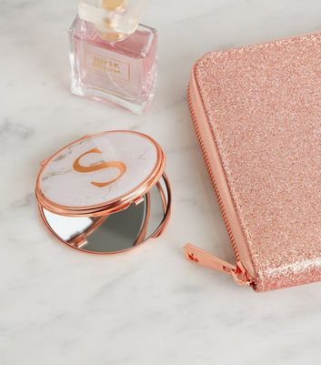 Rose Gold Marble Effect S Initial Compact Mirror