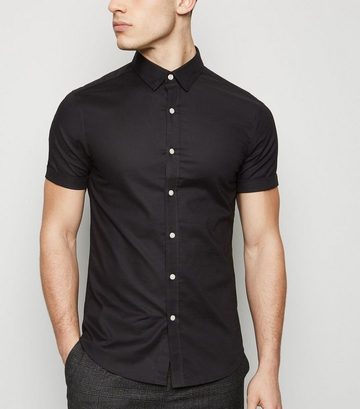 34011bf06 Black Short Sleeve Muscle Fit Oxford Shirt | New Look