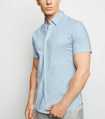 Pale Blue Short Sleeve Muscle Fit Shirt