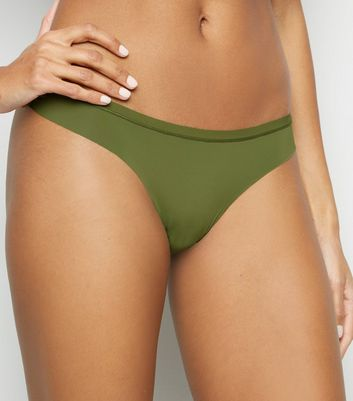 Olive Lace Back Seamless Thong