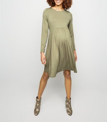 Maternity Olive Long Sleeve Smock Dress