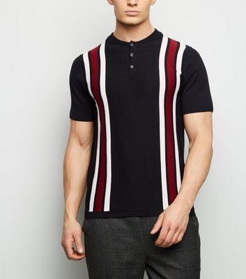 Red Bowling Stripe Button Neck Polo Shirt