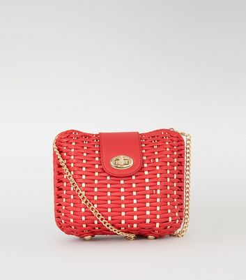Red Woven Straw Effect Cross Body Box Bag