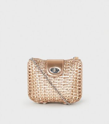 Rose Gold Woven Straw Effect Cross Body Box Bag