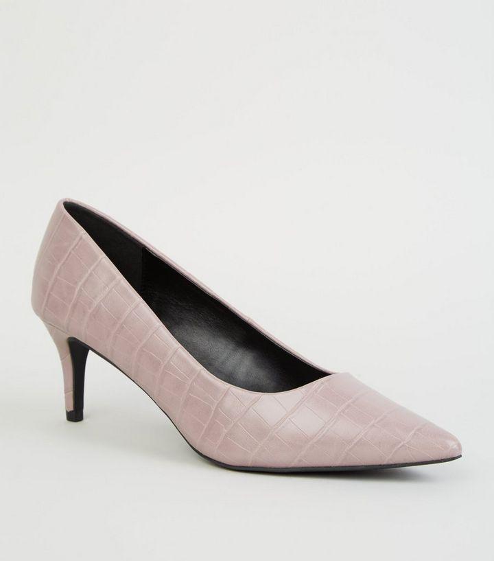 ed3ee774824 Lilac Faux Croc Kitten Heel Court Shoes