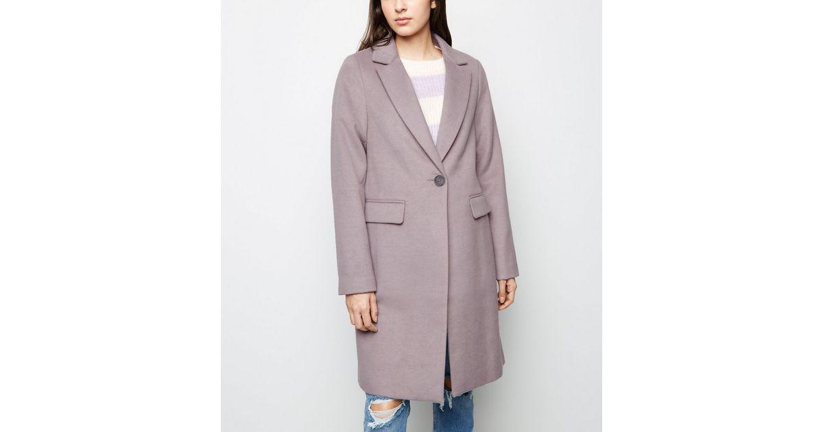 Manteau lilas habillé à coupe droite   New Look