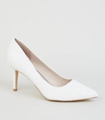 White Glitter Mid Heel Pointed Court