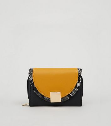 Mustard Colour Block Small Purse