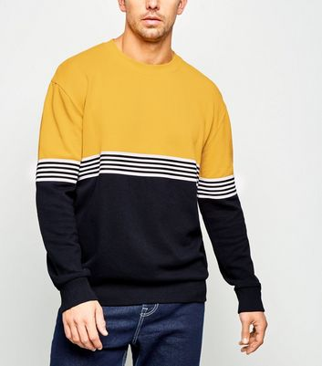 Yellow Tape Stripe Colour Block Sweatshirt