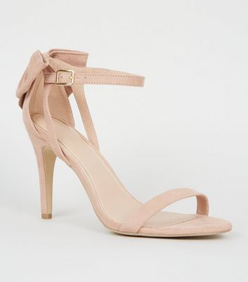 Nude Suedette Bow Back Stiletto Sandals