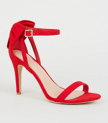Red Suedette Bow Back Stiletto Sandals