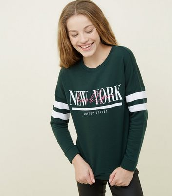 Girls Dark Green New York Stripe Sleeve Sweatshirt