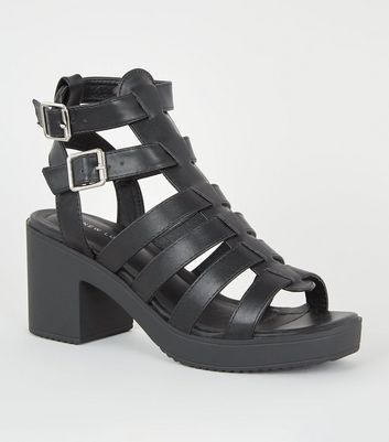 Black Leather-Look Chunky Gladiator Sandals