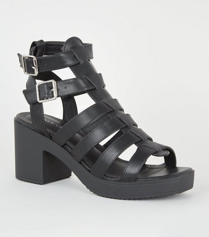 c18b9f7fe Black Leather-Look Chunky Gladiator Sandals