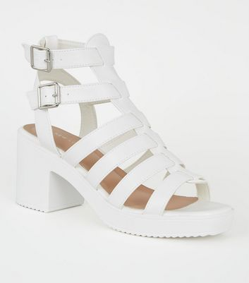 White Leather-Look Chunky Gladiator Sandals