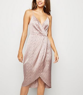 Blue Vanilla Pink Spot Satin Slip Dress