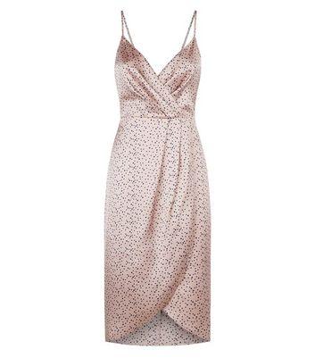 shop for Blue Vanilla Pink Spot Satin Slip Dress New Look at Shopo