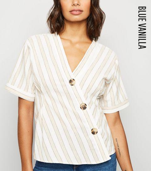 0a2915be5a0 ... Blue Vanilla Cream Stripe Short Sleeve Asymmetric Shirt ...