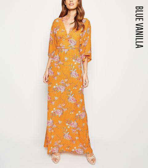 6ed275b6107 ... Blue Vanilla Orange Floral Wrap Maxi Dress ...