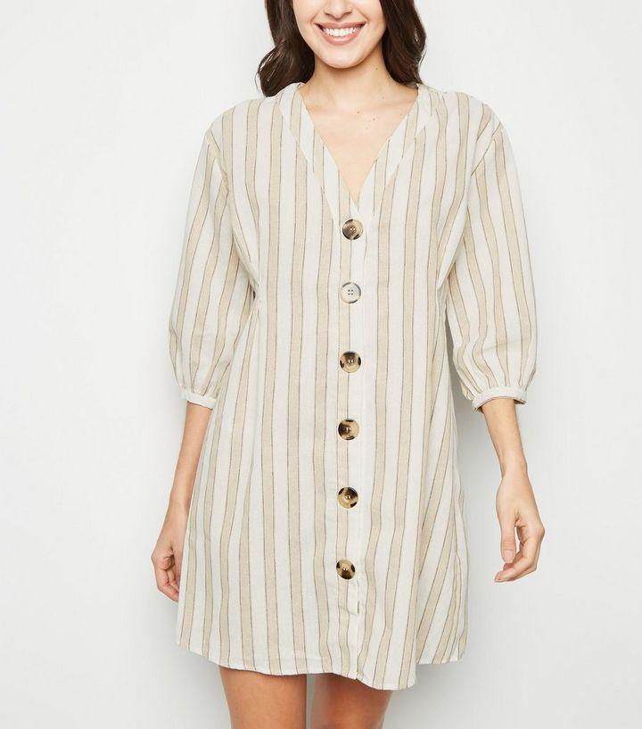 5cb298677a8 Blue Vanilla Cream Stripe Button Up Shirt Dress