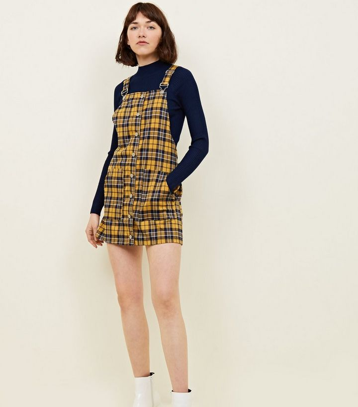 5686561e26 Cameo Rose Mustard Check Pinafore Dress