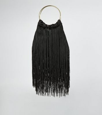 Black Fringed Metal Handle Pouch Bag