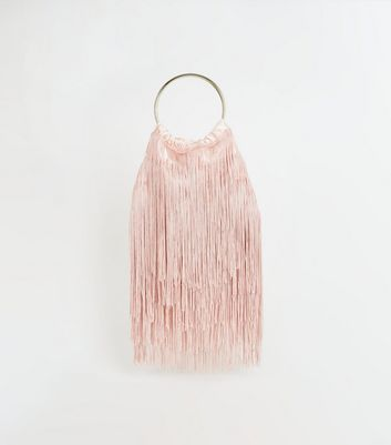 Pink Fringed Metal Handle Pouch Bag