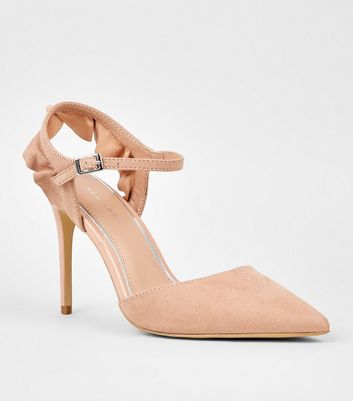 Nude Suedette Pointed Frill Heel Court Shoes