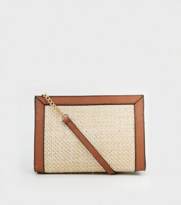 Stone Woven Straw Effect Panel Cross Body Bag