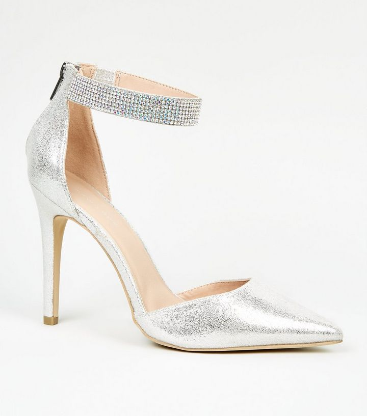 Silver Glitter Diamanté Trim Heel Court Shoes  3a28fa8e7784