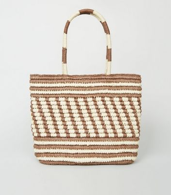 Brown Stripe Woven Straw Effect Tote Bag