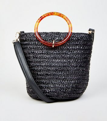 Black Woven Straw Effect Bucket Bag