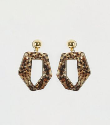 Gold Snake Resin Angular Drop Earrings