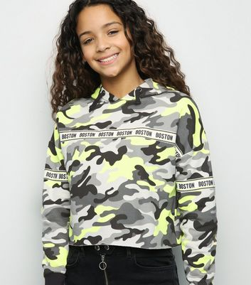 Girls Neon Camo Boston Tape Slogan Hoodie