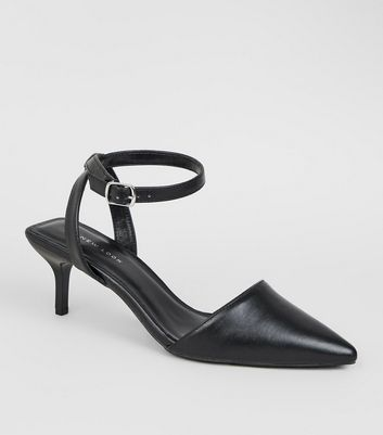 Black Pointed Squared Kitten Heel Sandals