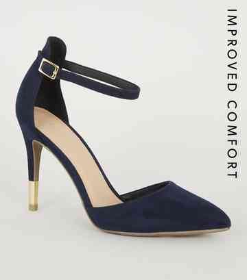 Navy Suedette Ankle Strap Stiletto Courts