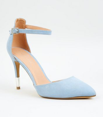 Pale Blue Suedette Ankle Strap Stiletto Courts