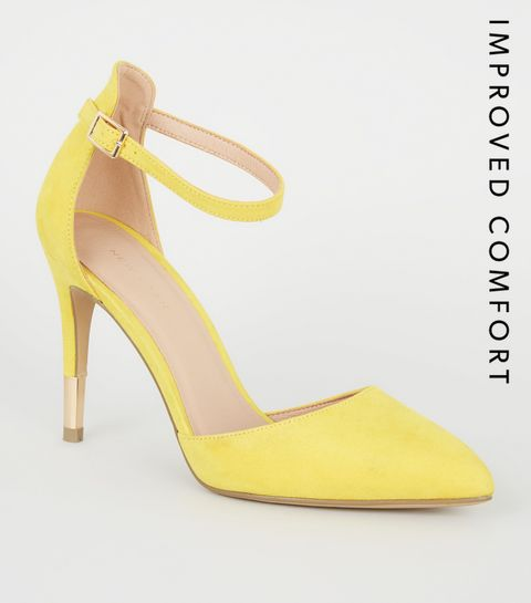 b6d1ef98b5c ... Yellow Suedette Ankle Strap Stiletto Courts ...