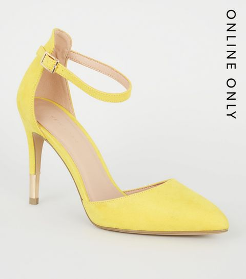 18f4eaf9c92f ... Yellow Suedette Ankle Strap Stiletto Courts ...