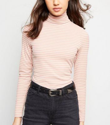 Pink Stripe Roll Neck Top