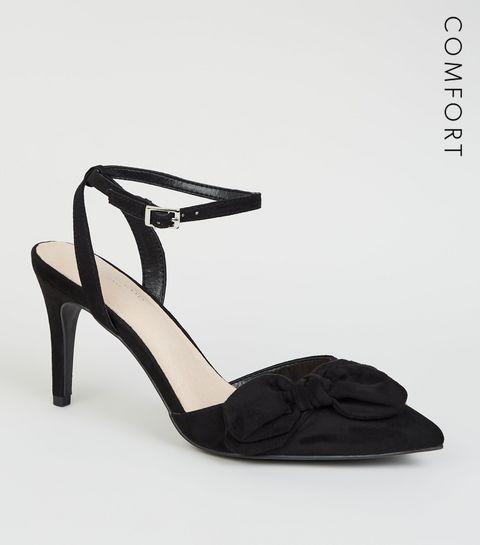 4e3bea57fe0 ... Black Comfort Flex Suedette Bow Front Heels ...