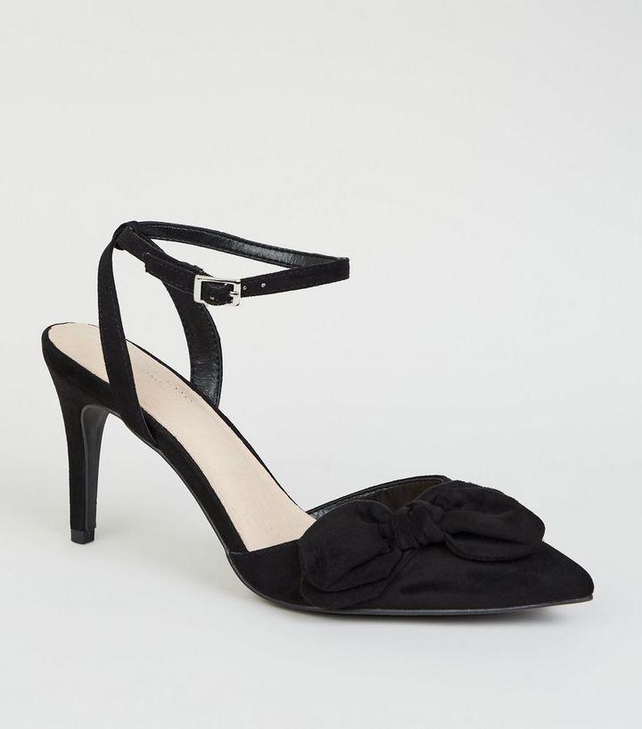 f0158fd08e2 Black Comfort Flex Suedette Bow Front Heels