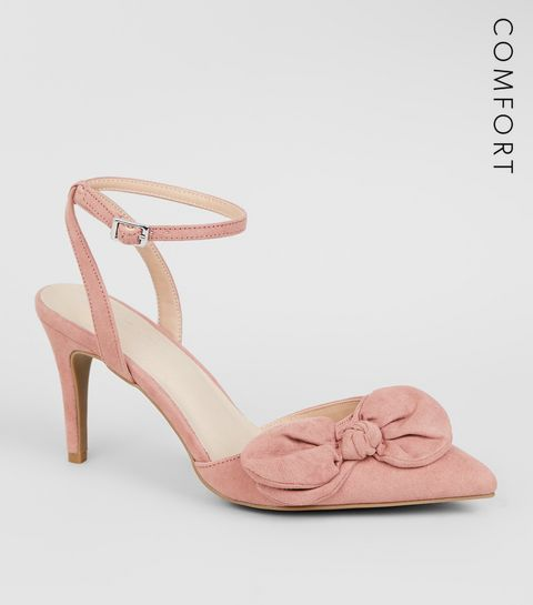 25201bf7d1f ... Pink Comfort Flex Suedette Bow Front Heels ...