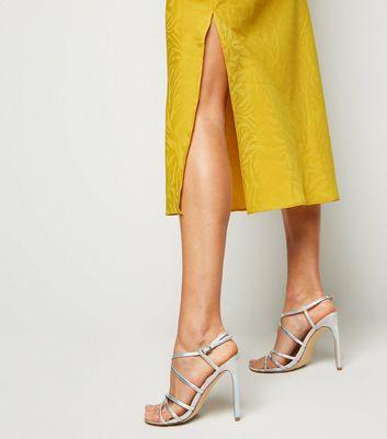 Yellow Zebra Satin Cowl Neck Midi Dress New Look